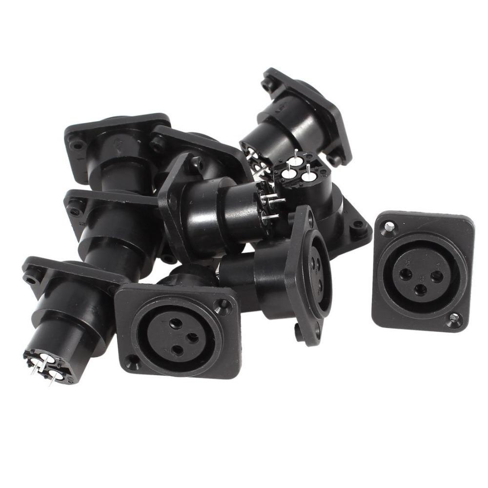 50Pcs\Lot 3 Pin XLR Female Chassis Socket Panel Mount Adapter Connector Black