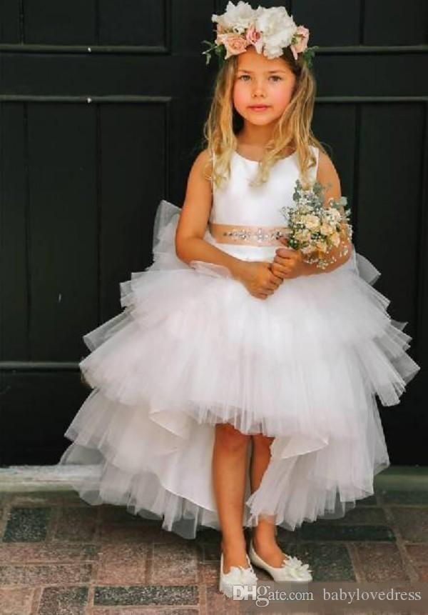 Tiered tulle high low little flower girls dresses for weddings with beaded ribbon zipper back princess birthday party gowns