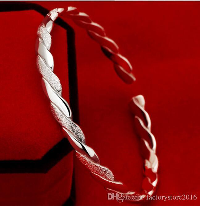 جودة عالية 925 الفضة مطلي المفتوحة الإسورة الأساور حبل قابل للتعديل مصمم نيس سحر سوار والمجوهرات بالجملة