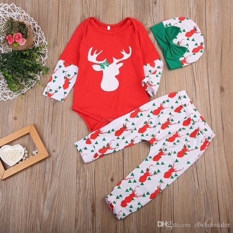 Baby Christmas Pijamas Romper Set Kids Boutique Ropa Traje 3pcs Traje de niño Reno Infant Romper + Legging Pants + Hat Red New Year Suit