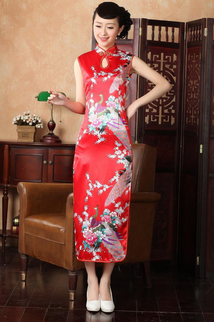 05ef1acc6adac Shanghai Story New Arrival Faux Silk Long Cheongsam Dress Peacock Print  Evening Dresses Traditional Chinese Dress Sexy Qipao Dresses Satin Dress  Dress ...