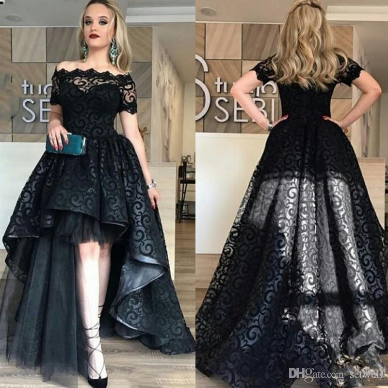 Elegant Black Full Lace High Low Prom Dress Off Shoulder Short Sleeves Evening Gowns High Quality Fashion Party Gown Custom Made