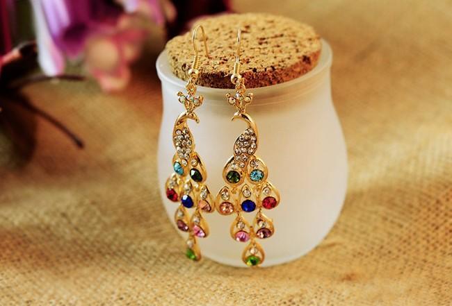Bling Peacock Kolczyki Multi Color Bohemian Rhinestone Pozłacane kolczyki Damskie Biżuteria Prezenty Hak Kolczyki