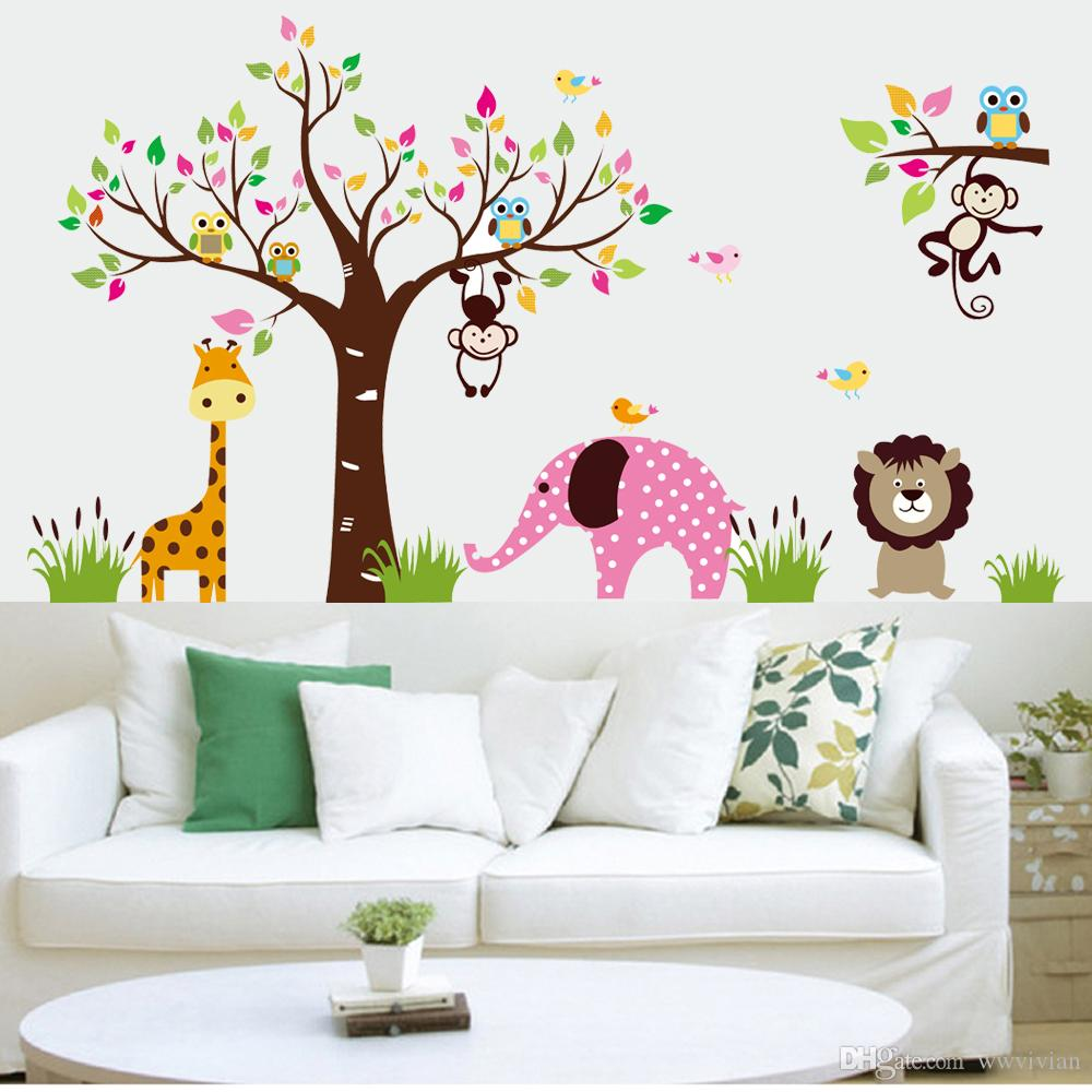 wall stickers leaves tree colorful leaves monkey owls wall stickers kids boys girls infant wall mural poster giraffe lion