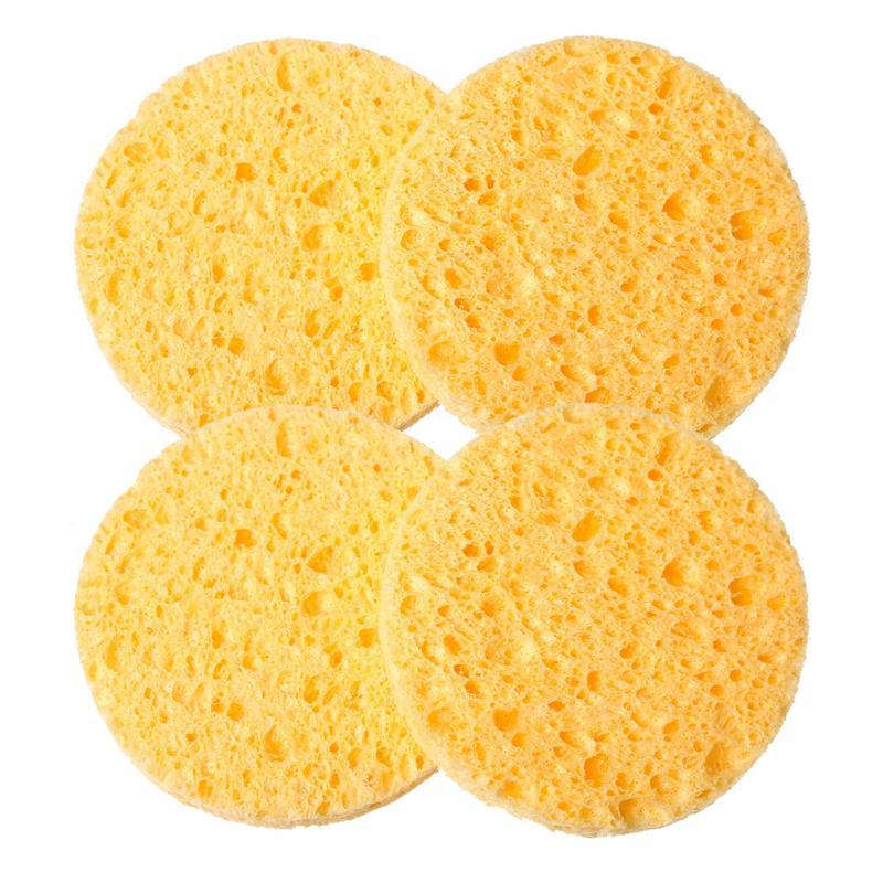 Wholesale- 4 PCs Natural Wood Fiber Face Wash Cleansing Sponge Beauty  Tools Accessories Round Yellow 7cm Dia Free Shipping