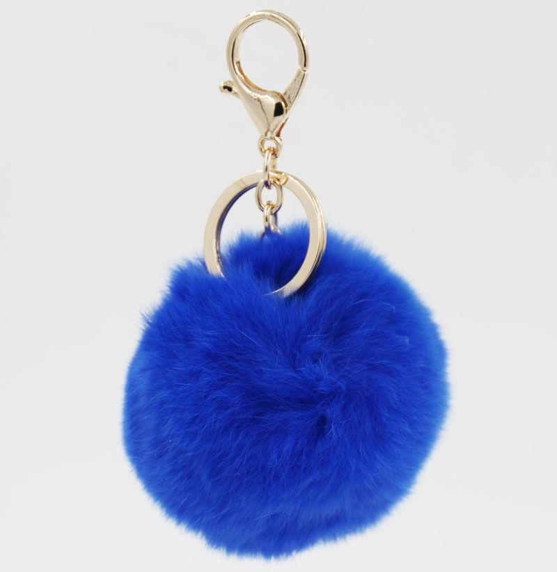 Retal Soft Echte Kaninchenfell Ball Metall Schlüsselanhänger Ball Pom Poms Plüsch Schlüsselanhänger Auto Tasche Anhänger Gold Schlüsselanhänger