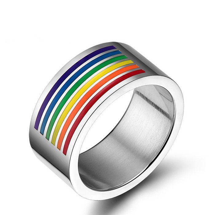 Anillo de arco iris de seis colores del acero inoxidable Orgullo Gay Camaradas Anillo LES Joyería Homosexual para Mujeres Hombres Regalo del día de San Valentín