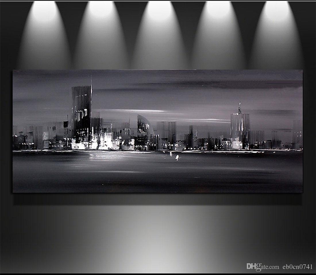 Feitiço Único de alta qualidade Pintados À Mão abstrata cidade à noite Moderna Pintura A Óleo Sobre Tela Wall Art Top Decoração de Casa