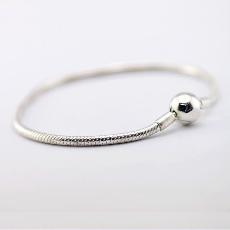 Schlangenkette Silber Armband mit Rundverschluss 100% 925 Sterling Silber Perlen Fit Pandora Charms Armband Authentische DIY Modeschmuck