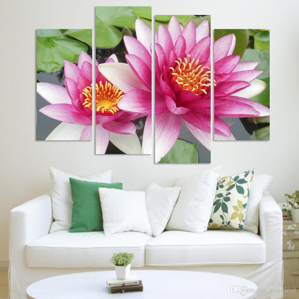 Best 4 Panel Wall Art Pictures Botanical Red Feng Shui Pink Lotus