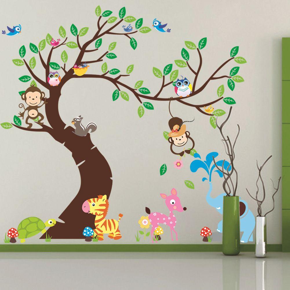 Großhandel Übergroße Dschungel Tiere Baum Affe Eule Abnehmbare Wandtattoo  Aufkleber Muraux Kinderzimmer Dekor Wandaufkleber Für Kinderzimmer Von ...