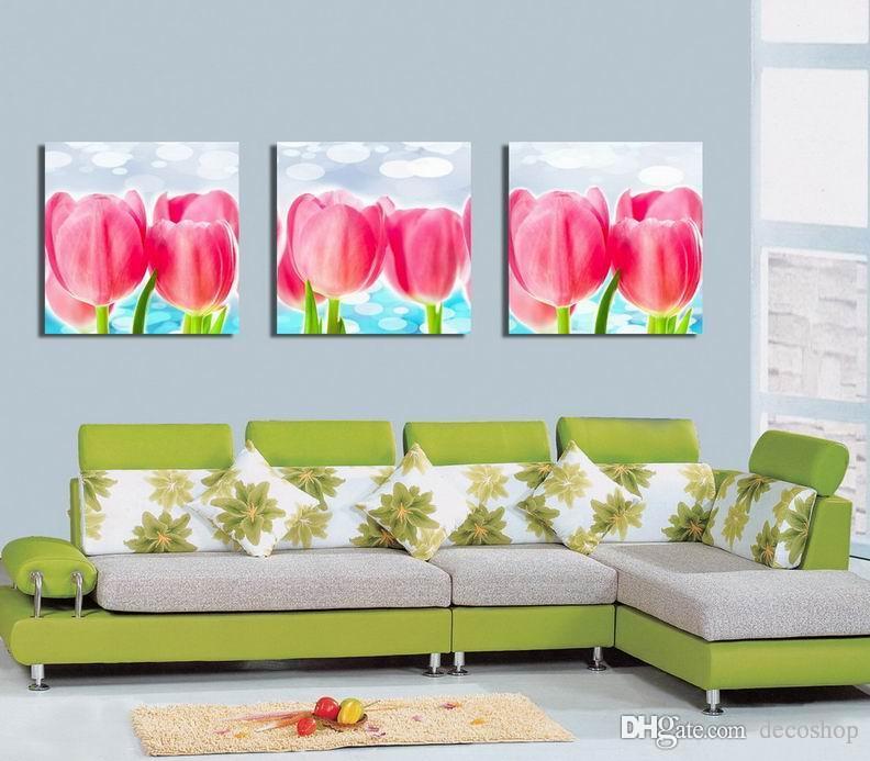 현대 Tulipa Gesneriana 꽃 회화 Giclee 인쇄 캔버스 벽 예술 홈 장식 Set30409