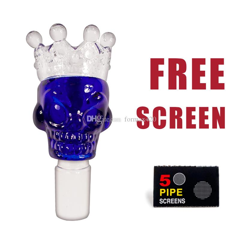 Formax420 18/19mm Blue Glass Crown Bowl Herb Holder 5 Free Screens Free Shipping