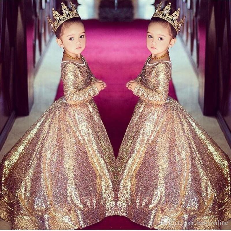 Gold Princess Stunning Kids Pageant Birthday Eveing Party Gowns Ball Gown  Dress
