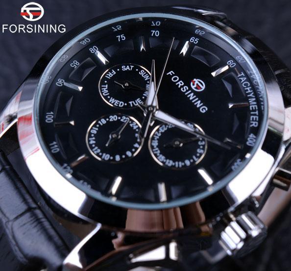 Forsining Business Time Series schwarz Lederarmband 3 Zifferblatt 6 Hände Männer Uhren Top-Marke Luxus automatische Uhr Herren