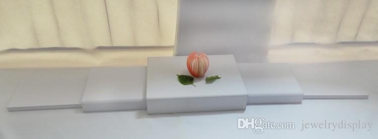 Moda caja de regalo Garantía Dispaly Display Ventana de madera Kit de soporte de Jewellry Couter del soporte para tarjetas Set Puntales envuelto con cuero sintético súper