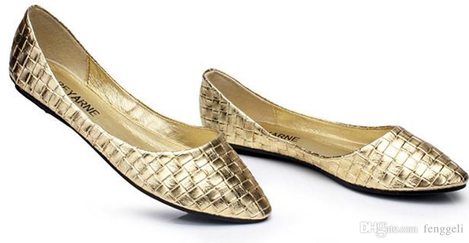 Sapatos Femininos Женская Обувь Кожа PU Золото Серебро Женщины Балет для женщин Плоские Одиночные Туфли Повседневная Обувь Бесплатная Доставка