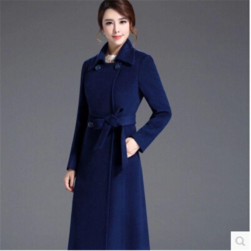 -All'ingrosso di alta qualità Cappotto in lana Cappotto da donna cachemire stile Mew colore puro Lace-up morbido autunno-inverno Moda di lana cappotto di panno BN1240