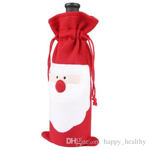 DHL 6lot Hot sale Christmas gift bag Merry Xmas Santa Claus Wine Bottle Cover Christmas Dinner Party Table Decor Red free shipping