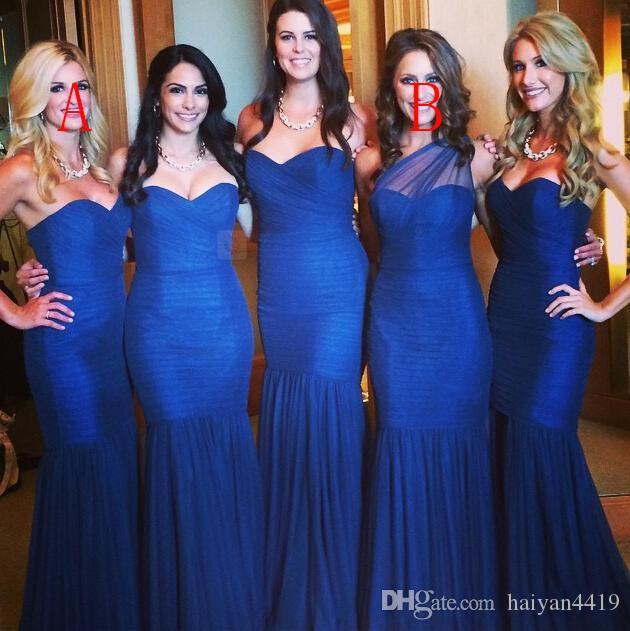 2016 Nuevo vestido de dama de honor azul real barato sirena larga Un hombro vestido de huésped de la boda más tamaño vestidos de dama de honor para bodas