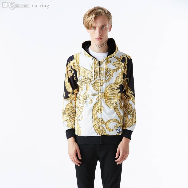 Оптово-2016 Осенние топы модные куртки с капюшоном на молнии для мужчин 3d толстовка с принтом золотые цветы спортивные толстовки с капюшоном Азии S-XXL