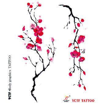 Satın Al Geçici Dövme çıkartma Vücut Kol Bilek Kırmızı Erik çiçeği Sahte Sanat Boyama Transferi Makyaj çevre Tasarımları Su Geçirmez 1358