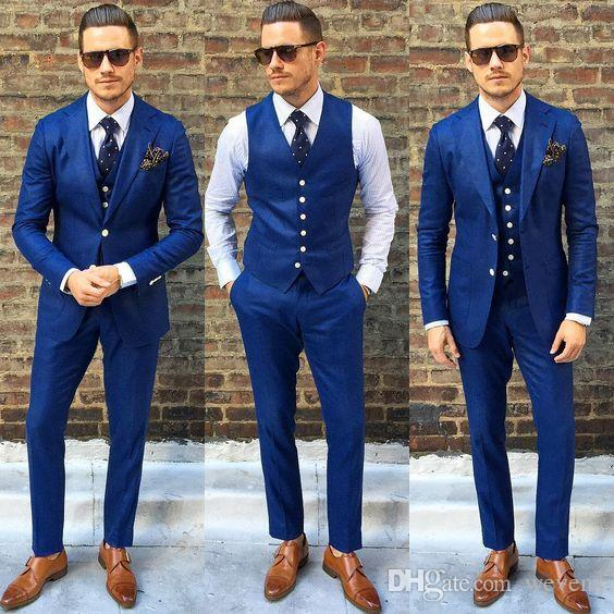 Fashion Royal Blue Mens Suit Three Pieces Two Buttons Wedding Tuxedos Slim Fit Custom Made Groom Formal Suits(Jacket+Pants+Vest)