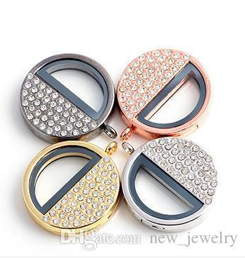 Hot 36 * 36mm Liga de Aço Inoxidável prata ou ouro Flutuante Viver Medalhões diy metade de Vidro redondo Fecho Magnético Medalhão