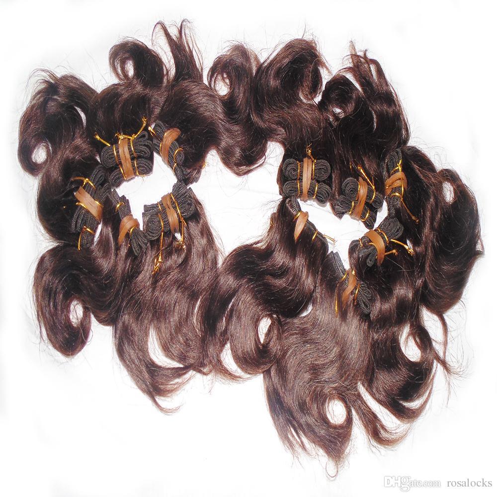Grand ordre En Gros Beaucoup de Cheveux 40 pcs Collection Cheveux ondulés Brésiliens 8 pouce Couleur Brun Double Trames Rapide DHL service