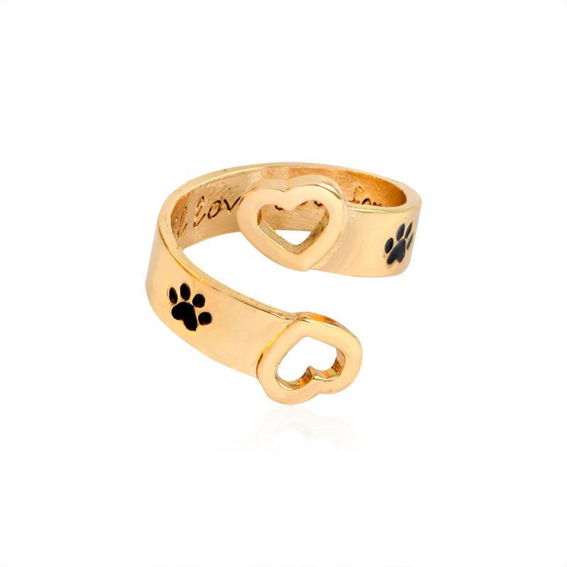 سأحبك إلى الأبد الحيوان أليف الكلب أقدام مخلب الجوف الحب القلب مجوهرات افتتاح الدائري لكلب الأم شحن مجاني