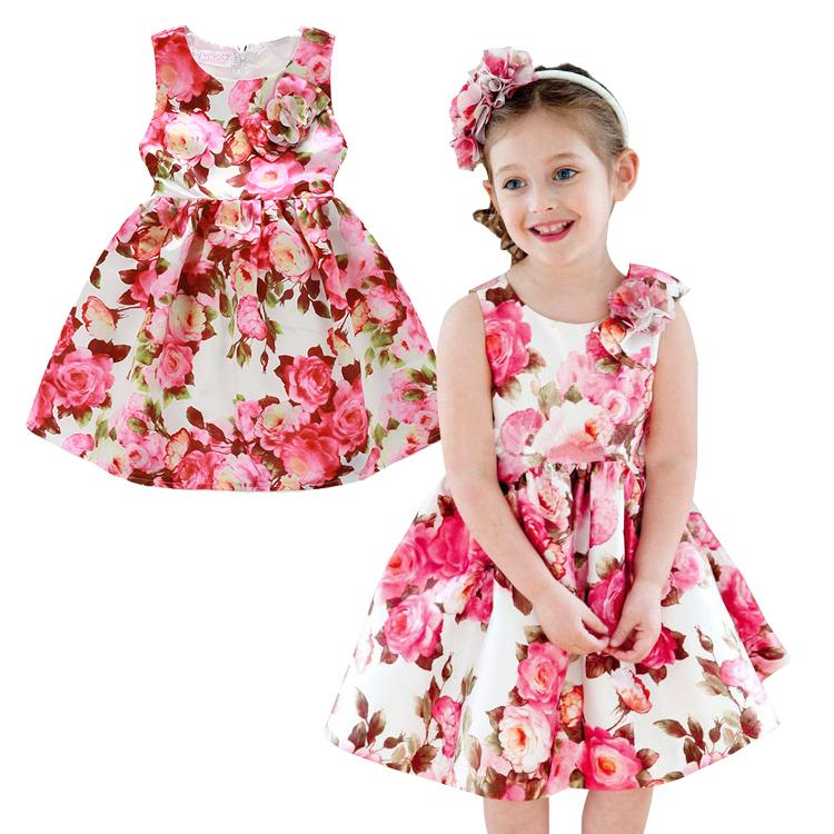 PrettyBaby 2016 summer girls dress sleeveless floral printed colorful 100%cotton lining kids clothing free shipping