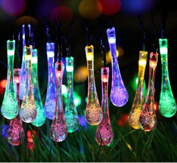 20LED الجنية سلسلة الأنوار تعمل بالطاقة الشمسية قطرة الماء أدى ضوء في الهواء الطلق للماء عيد الميلاد حديقة ضوء الزفاف الديكور