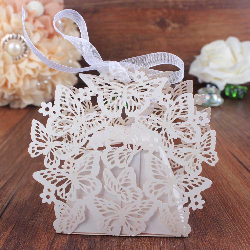 Laser Cut Hollow Butterfly Candy Box For Wedding Guests Gifts With ...
