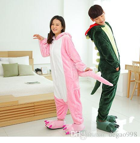 """(wholesale/retail) animal cartoon conjoined pajamas couple lovely flannel """"nightgown"""" clothing (green + shoes) S/M/L/XL"""