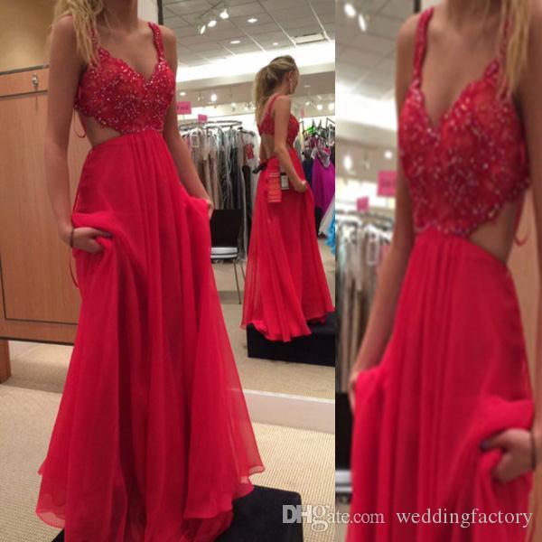 Потрясающее платье для выпускного вечера Длинные вечерние платья с открытой спиной и бисером Кружевной топ с вырезом из полого платья длиной до пола, шифоновые платья