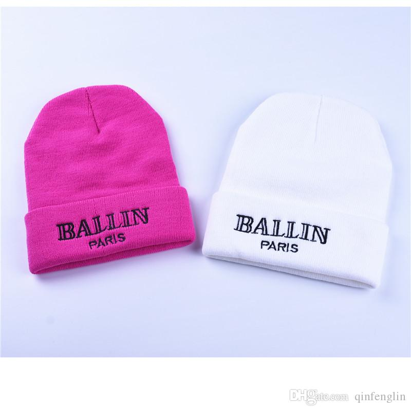 c0a0432b930 ... Women S Winter Hat Ballin Paris Embroidery Knitted Beanies Hats Hip Hop  Ski Cap Warm White Black ...