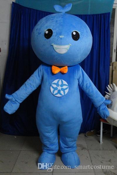 SX0724 100% positives Feedback ein blaues Ball-Maskottchen-Kostüm mit orangefarbener Krawatte für Erwachsene