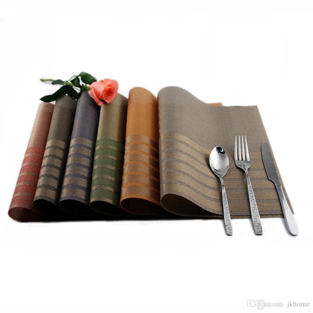 JANKNG 4Pcs / lot Роскошные коврики для стола Placemat 6 цветов Декорирование ПВХ Кухонные коврики для стола Dinning Clear Table Pads Clothing