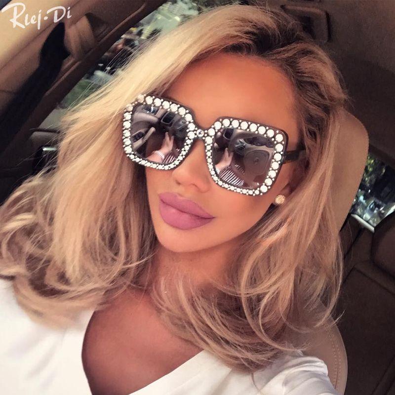 Großhandel Mode Retro Diamant Sonnenbrille Damen Übergroßen ...
