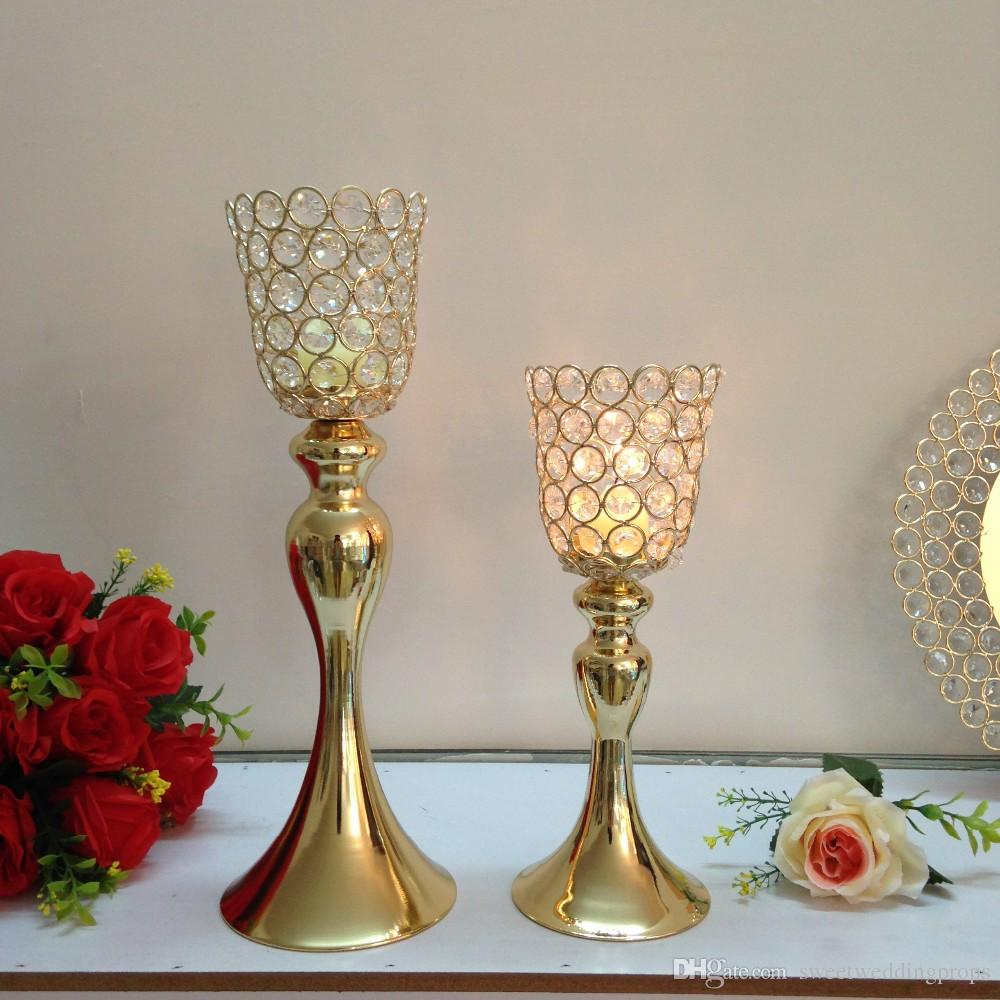 Gold Metal Candle Holders Stand Flowers Vase Candlestick As Road Lead  Candelabra Center Pieces Wedding Decoration 18th Birthday Party Decorations  18th ...