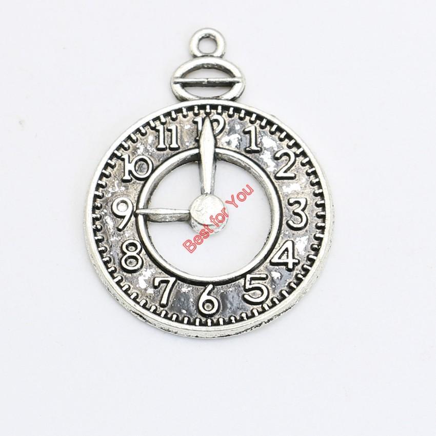 Antikes Silber vergoldet Vintage Clock Charms Anhänger Armband Halskette Schmuck machen DIY handgemachte 32x25mm