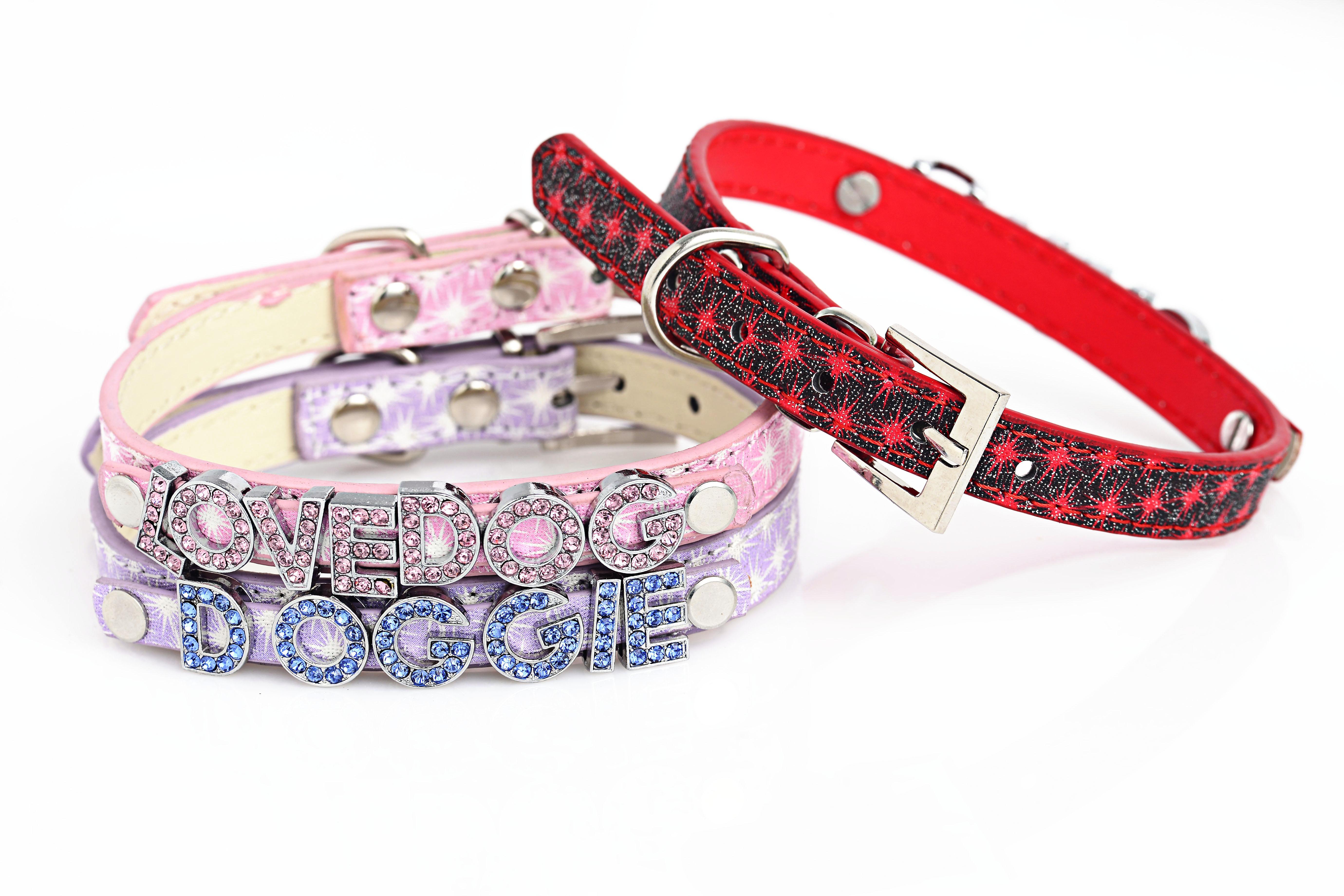 Kundengebundenes PU-Lederhundehalsbandstern-Musterleder für DIY 10mm Dia beschriftet multi Mischfarben-Großverkauf freies Verschiffen