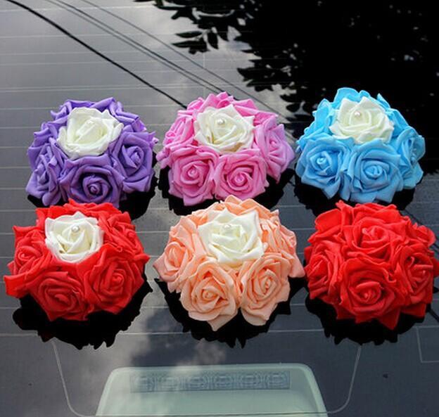 꽃 원형과 14cm 고품질 한국어 웨딩 자동차 장식 인공 장미 꽃 공 장식 웨딩 액세서리
