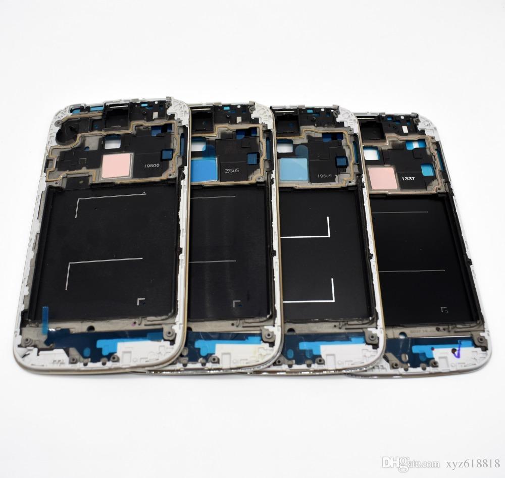 الأصلي أجزاء جديدة lcd جبهة مدي الإطار faceplate الإسكان غطاء لسامسونج غالاكسي s4 GT-i9500 i9505 i337 i9506 فضي أسود شحن مجاني