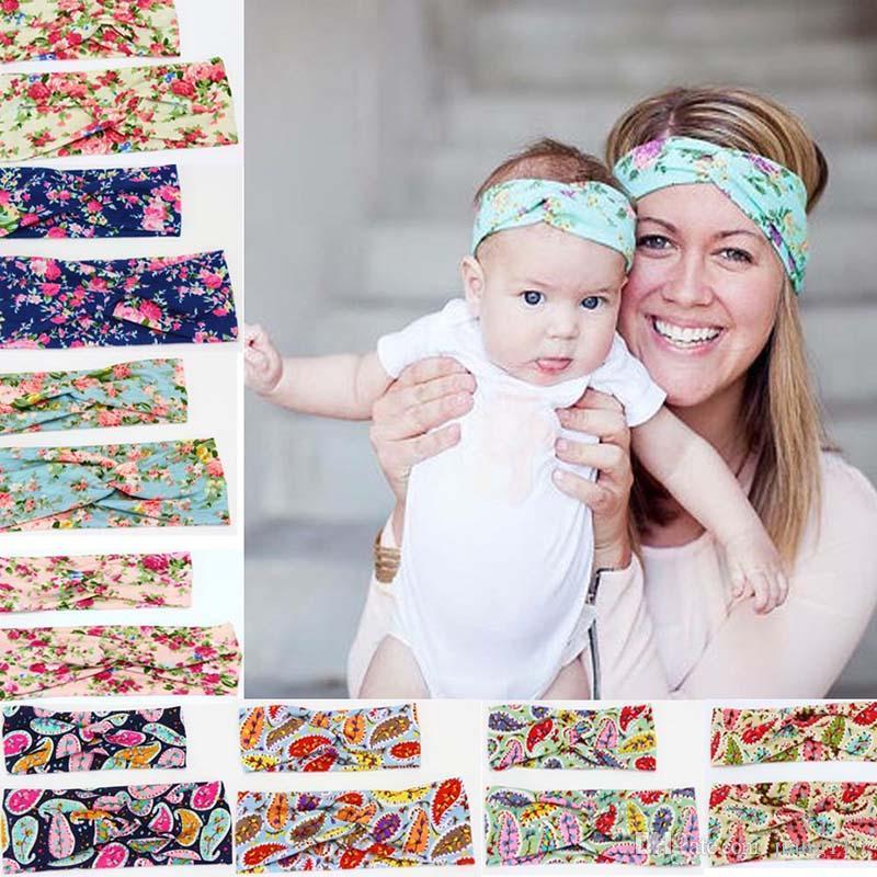 Parent-enfant imprimer fleur bandeau Twist noeud Turban wrap cheveux bébé Tout-petit couvre-chef bébé fille Photographie Prop Woemn ENFANTS PARTY CADEAUX