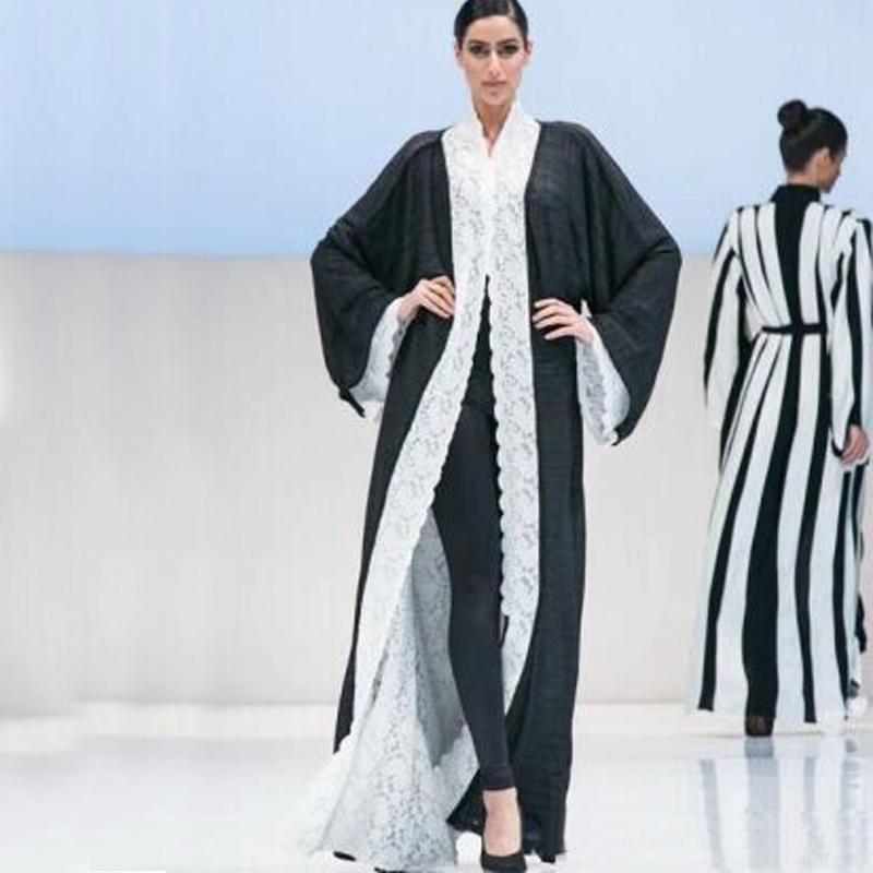 Newest 2016 Abayas Coat Long Sleeves Reversible Lace Chiffon Formal Evening Dresses Kaftan Arabic Dubai Muslim Prom Party Gown EN5185