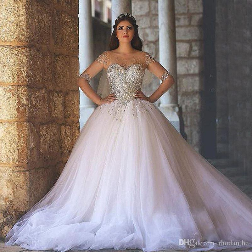 Shining Beading Corset With Sheer Long Sleeves Ball Gown Wedding Dresses  2017 Plus Size Tulle Skirt ...