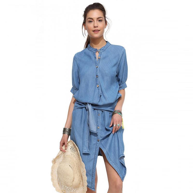 뜨거운 판매 데님 드레스 캐주얼 느슨한 단추 여성 우아한 블루 타이 셔츠 드레스 여름 짧은 소매 솔리드 Vestidos