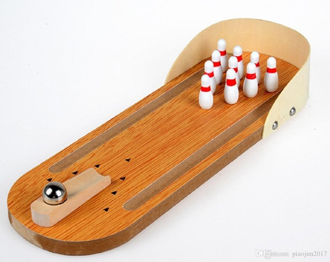 Çocuklar İçin Çocuklar İçin Mini Ahşap Masa Bowling Oyunu Eğitici Oyuncak Eğlenceli