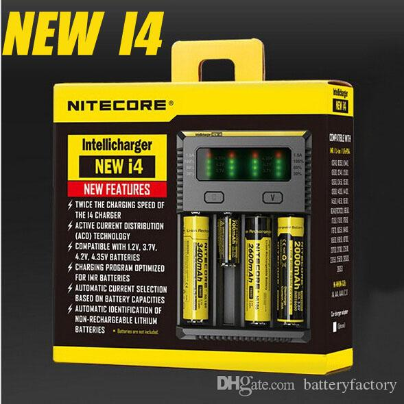 100% authentique Nitecore NOUVEAU I4 Intellicharger Universal 1500mAh Sortie maxi cig Chargeurs pour batterie 18650 18350 26650 10440 14500